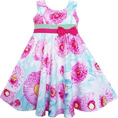 FK92 Sunny Fashion Girls Dress Bow Tie Water Flower Pattern Purple Sundress Size 5 -- To view further for this item, visit the image link.
