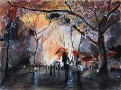 Watercolor painting - Autumn rain - Art Print by nicolasjolly Rain Painting, Watercolor Painting Techniques, Watercolor Canvas, Watercolor Paintings, Watercolors, Rain Art, Autumn Rain, Umbrella Art, Wow Art