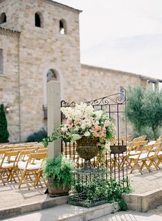 Tuscan garden styling for ceremony decor, Wedding Design: Alexandra Kolendrianos / Floral and Event Design: Mindy Rice / Venue: Sunstone Winery