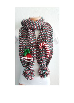 Christmas SCARF   with bell and candyChunky Scarf by NesrinArt