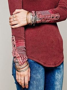 MODE+THE+WORLD:+Thermal+Detail+Cuff+Blouse