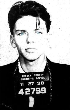 Frank Sinatra mug shot mugshot photo, print, poster pop art vintage cool wall decor celebrity gift blue eyes Rat Pack