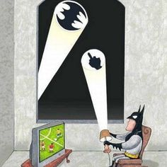 Batman Watching the Wold Cup