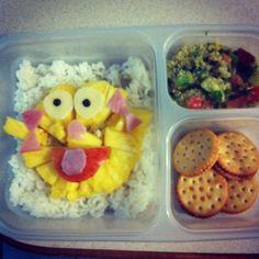 Zoe Sesame Street bento: rice, pineapple, ham, mozzarella, mozzarella, tabouleh, peanut butter crackers
