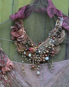 Concerto-- bohemian shabby chic statement necklace from antique and vintage…
