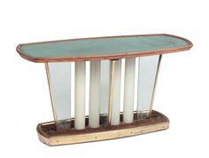 Gio Ponti, tavolino ovale in legno, ottone e metallo, piano in vetro