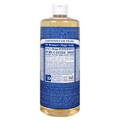 Bronner's Peppermint Castile Liquid Soap is our most popular fragrance. The peppermint essential oil tingles the body and clears the min. Castile Soap Uses, Castile Soap Recipes, Dr Bonners, Bronners Soap, Natural Cleaning Products, Household Cleaning Products, Household Cleaners, Diy Cleaners, Cleaning Recipes