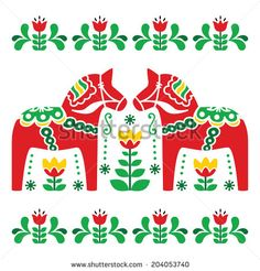 Illustration about Scandinavian background - Dala red horses with green floral pattern isolated on white. Illustration of green, card, decor - 42358632 Scandinavian Pattern, Scandinavian Folk Art, Folk Embroidery, Embroidery Patterns, Stitch Patterns, Bordado Popular, Illustration Blume, Swedish Christmas, Swedish Design