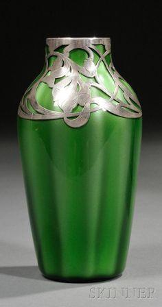 Loetz Glass with Silver Overlay Vase, c. 1900