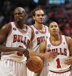 Chicago Bulls. #9 Luol Deng. #1 Derrick Rose. #13 Joakim Noah. These are the three best players of now a day on the bulls. My favorite team ever.