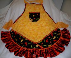 Flaming Peppers Apron by whimseycottage on Etsy, $25.00