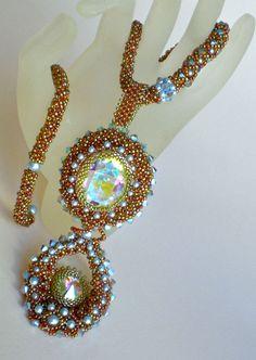 Rivoli Beadwoven Autumn Colors Necklace Unique Beaded Beadwork Beadweaving Jewelry   Cool Twist