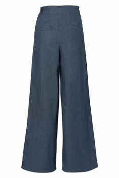 Miss Candyfloss - 40s Katherine Hepburn High waisted Swing trousers blue denim