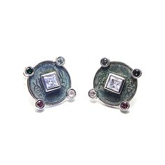 Chinese Cufflinks- April by Houndsditch, in rhodium plated silver, white topaz, tourmalines and Huo Quan Coin (Wang Mang Period AD 7-23) #cufflinks #houndsditch #chinese #silverjewellery #contemporaryjewellery  #huoquancoin #whitetopaz #tourmaline
