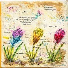 Layers of ink - Colorful Floral Crocus Tutorial by Anna-Karin Evaldsson. With Simon Says Stamp Thoughtful Flowers stamp set. White Sharpie, Hope You Are Well, Art Journal Pages, Art Journals, Art Journal Inspiration, Journal Ideas, Mixed Media Techniques, Mixed Media Art, Mix Media