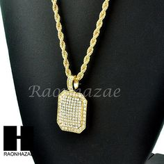 """HIP HOP GOLD PLATED ICED OUT DIAMOND SHAPE PENDANT 24"""" ROPE CHAIN NECKLACE 248"""