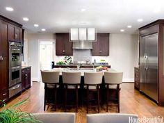 Dark kitchen light floors