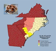 Typical BBQ Sauce styles in VA, NC, SC & GA. You'll find some mustard sauces in southern coastal NC, & both eastern & central (aka Lexington or Piedmont) NC styles in the Triangle area of NC. (Image http://images.search.yahoo.com/images/view;_ylt=A0PDoX8afUlQKVAAh36JzbkF;_ylu=X3oDMTBlMTQ4cGxyBHNlYwNzcgRzbGsDaW1n?back=http%3A%2F%2Fimages.search.yahoo.com%2Fsearch%2Fimages%3Fp%3D) Read more about US regional BBQ styles here: http://carolinasaucecompany.blogspot.com/2008/05/regional-bbq-styles....