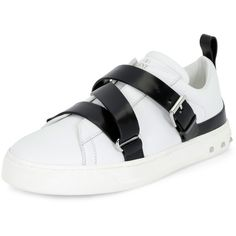 Valentino Rockstud Strappy Leather Sneaker (10.579.855 IDR) ❤ liked on Polyvore featuring shoes, sneakers, white, white shoes, leather shoes, round toe flats, t-strap flats and flat pumps