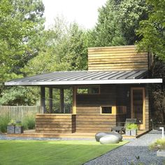 This 450 sq ft backyard studio serves as a writing studio and a quiet family retreat Writing Studio, Modern Balcony, Atlanta, Backyard Studio, Little Houses, Tiny Houses, Cabins And Cottages, Log Cabins, Balcony Design