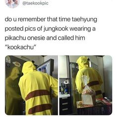 "Do u rememberthat time taehyung posted pics of jungkook wearing a pikachu onesie and called him ""kookachu"" - iFunny :) Jimin, Kookie Bts, Bts Bangtan Boy, Taehyung, Namjoon, Wattpad, K Pop, Foto Bts, Got7"