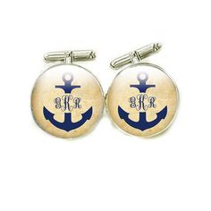 Anchor Initials Monogram Cufflinks personalized by abellagift,