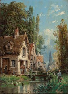 CHARLES EUPHRASIE KUWASSEG (French, 1833-1904) Scenes in an Alpine Village