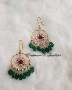 Gold Jhumka Earrings, Jewelry Design Earrings, Gold Earrings Designs, Ear Jewelry, Bead Jewellery, Beaded Jewelry, Diamond Jewellery, Necklace Designs, Purple Jewelry