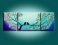 Handmade Modern Abstract Huge Canvas Art Wall Decor Oil Painting Bird No Framed Tree Wall Painting, Bird Paintings On Canvas, Abstract Tree Painting, Abstract Wall Art, Oil Painting On Canvas, Canvas Art, Tree Paintings, China Painting, Art Oil