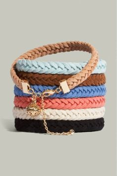 i have a bunch of these braided bracelets from Target, only $4! wish they had these colors there tho!!