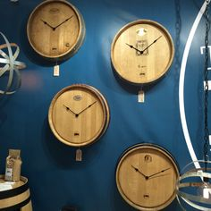 Clocks up-cycled from old wine barrels by the Wine Barrel Furniture Company Grand Designs Live, Wine Barrel Furniture, Wine Barrels, House Doctor, Furniture Companies, Clocks, Interior, Kitchen, Cucina
