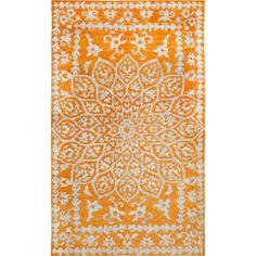Add a pop of pattern to your living room or den seating group with this hand-woven rug, showcasing a floral medallion motif in orange.