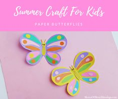 This super easy and fun summer craft for kids is a fun way to keep your kids busy this summer. The paper butterflies are a perfect decoration for any room! Summer Crafts For Kids, Paper Crafts For Kids, New Crafts, Spring Crafts, Crafts To Make, Easy Crafts, Craft Kids, Paper Butterfly Crafts, Paper Butterflies