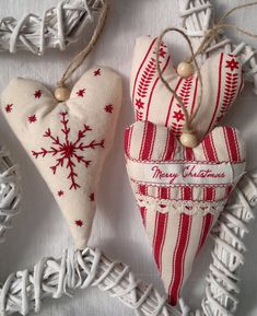 Set of Three Red and White Christmas Heart Fabric Ornament /Hanging Decoration. $20.00, via Etsy.
