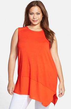 Vince+Camuto+Asymmetrical+Hem+Sleeveless+Mixed+Media+Top+(Plus+Size)+available+at+#Nordstrom