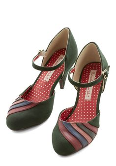 Harvest Display Heel. In this pair of vegan faux-suede pumps by Bait Footwear, you sport hues representing the bundles of berries youve collected, abundance of time by the lake, bouquets of roses youve smelled, and hours reading under the old pine tree. #green #modcloth