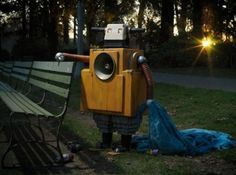 Two photographs from Portland, Oregon-based photographer David Emmite'sNobotty series. Nobotty conveys the plight of homeless robots down on their luck and struggling to eke out a living. In addition to staging and taking these handsome photos, David built each of the awesome robot subjects as well.Check out more of David's melancholy robots at Whitezine and his own website.