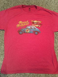 Buc-ee's Road Tripping Follow Me To Buc-ees Volkswagen Bug Red T-Shirt Sz M  | eBay