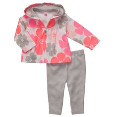 Carters Baby Girls Neon Floral Cardigan and Pants Set, Pink, 6 Mos