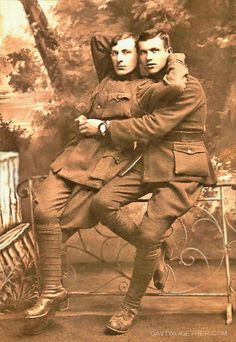 WW1 couple. very progressive for its time. ~ Obviously their preference did not hinder them from serving their country even way back then. People have been gay since the beginning of time and the world hasn't died off because of it, so get over it. Let people LOVE who they want to. It's the HATERS who'll do us all in.