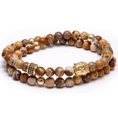 Mcllroy Handmade Bracelet Atolyewolf Jewelry Gold Buddha Charm Natural stone Beads Adjustable Female Bracelet  AA161061
