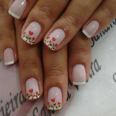 Red and White Valentines Nails Love Nails, Red Nails, White Nails, Holiday Nails, Christmas Nails, Valentine's Day Nail Designs, Valentine Nail Art, Nails For Kids, Pretty Nail Art