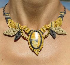 "Macrame necklace with ""Yellow Turquoise"""