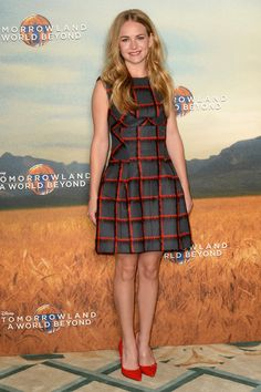Britt Roberston in printed Dior dress with red Barbara Bui pumps