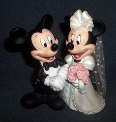 Mickey Minnie Mouse Wedding Cake Topper Porcelain Disney Bride Groom Retired .
