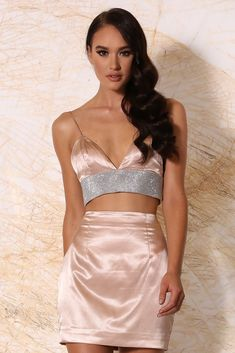 Ilona Triangle Satin Diamonte Bralette - Blush