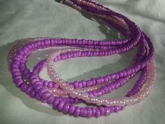 Multi strand Beaded necklace in pink and purple five strands #Beaded