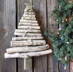 Rustic Wood Christmas Tree  Handmade From Reclaimed Wood - Shabby Chic handmade wood Christmas tree for home, garden or barn primitive decor