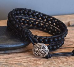 Mens Beaded Leather Wrap Bracelet Matte Black Onyx от PJsPrettys