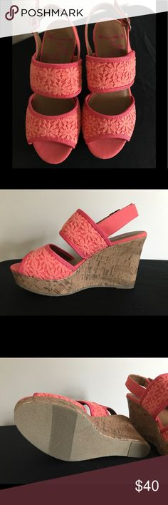 """Jelly pop Hot pink and coral wedge sandals NWOT beautiful wedge sandals, 4"""" heel with platform Jelly Pop Shoes Sandals"""